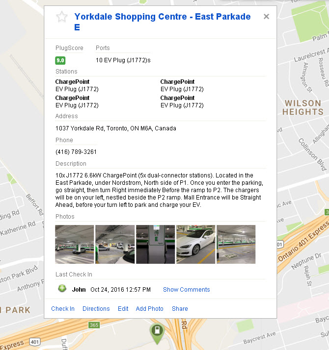 Yorkdale Mall Charging Startions - East Parkade - Description - Click for Link to PlugShare Live Listing