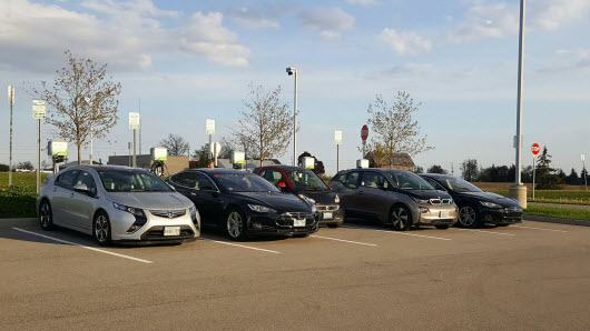 A Full Collection of EV's Charging on the South 5 EV Charging Stations